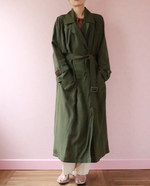 silk moss green trench coat