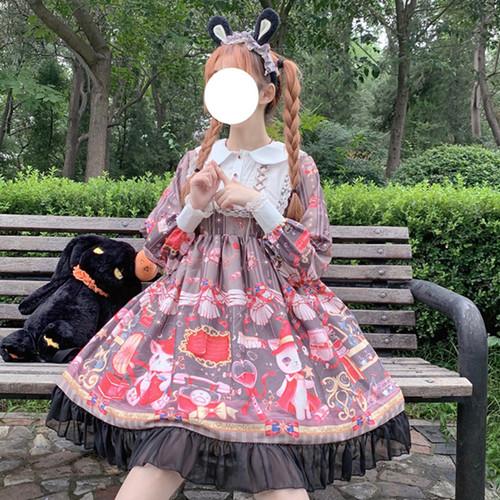 【ワンピース】日系秋プリント小柄長袖スウィートワンピース