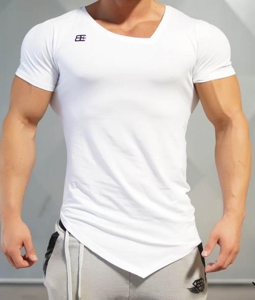 BODY ENGINEERS ボディエンジニア Tシャツ アシンメトリーYUREI  Vネック 白【WHITE OUT】 メーカー直輸入品!