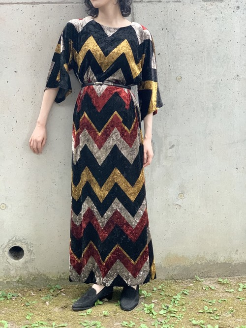 Vintage Velour Zigzag Dress