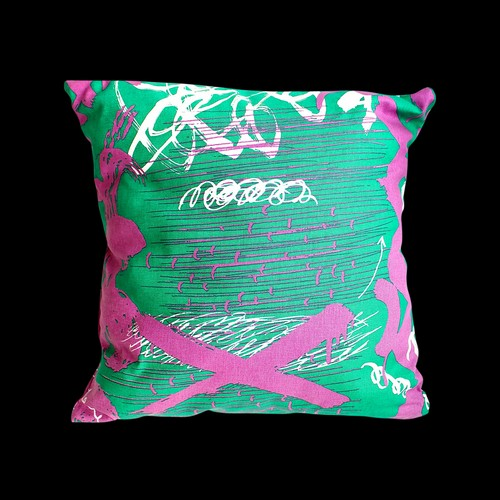 """DIG A HOLE"" cushion cover (GREEN)"