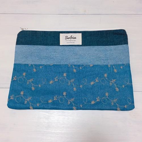 Denim clutch bag C5(Natural blue)