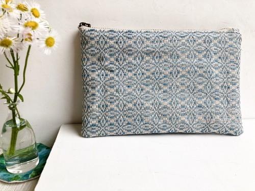 手織りポーチ〜藍(水色)〜