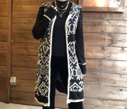 Black&White hooded knit 【Vintage product】