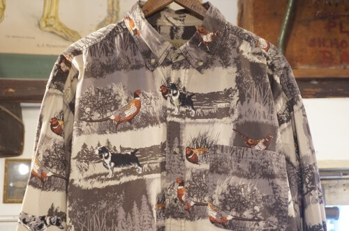 00's OUTDOOR LIFE pheasants and dogs printed cotton Shirt