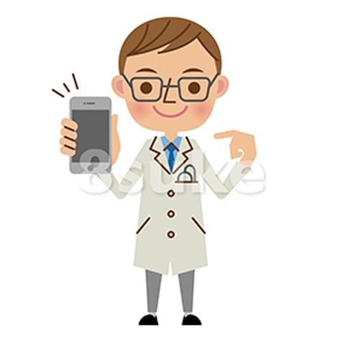 イラスト素材:スマートフォンを持つ医者・ドクター(ベクター・JPG)