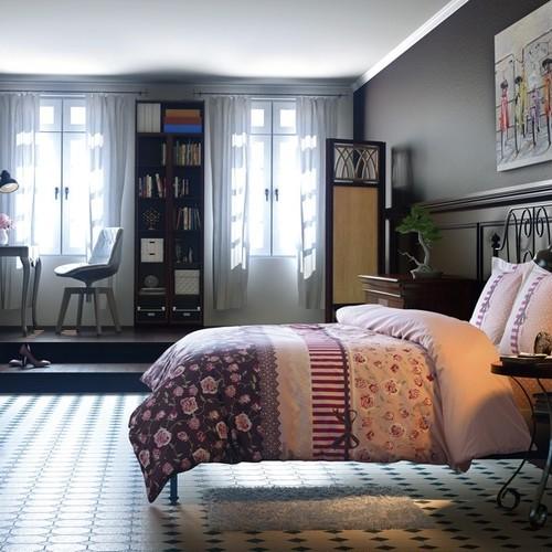 トルコ製 シングル ベッドカバー 3点セット ERICA ピンク
