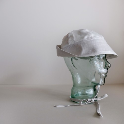 リボンの付いたセーラーハット 【Cotton linen sailor hat】- Herringbone / pearl white -