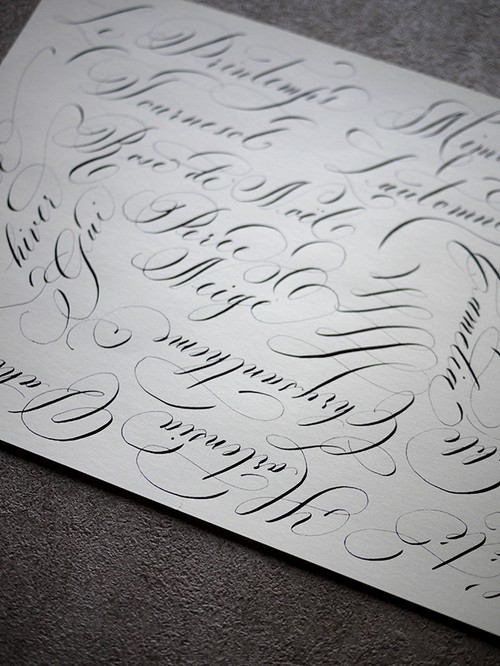 Hand lettering display paper / 季節の花