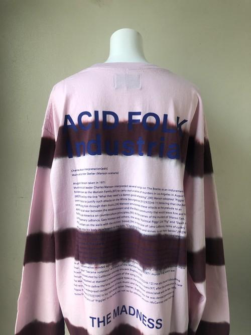 blackweirdos / Tiedye border L/S Tee -pink-