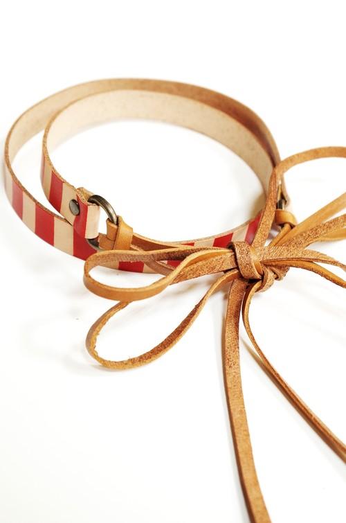 グラースオリジナルリボン結びレザーベルト帯〆 赤×茶