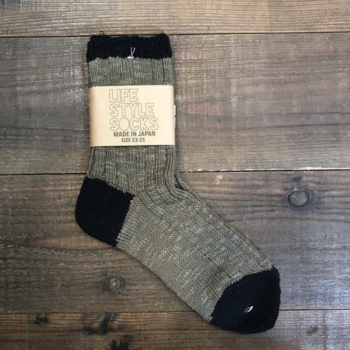 LIFE STYLE SOCKS カーキ×ブラック 奈良県産靴下