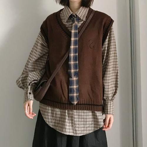 【即納】【送料無料】スクールボーイ♡ ネクタイ × ニットベスト × チェックシャツ 3点セット