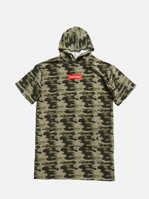 Saunner Box Logo Hooded Poncho - Camouflage
