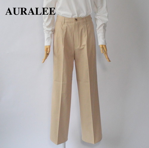 AURALEE/オーラリー・WASHED FINX LIGHT CHINO TUCK WIDE PANTS