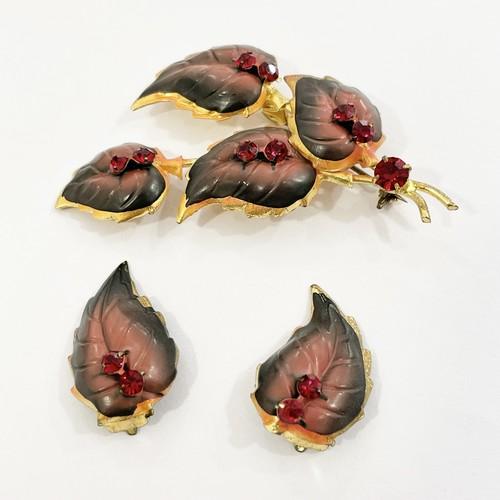 Vintage Painted Leaf Earrings & Blooch Made In Austria