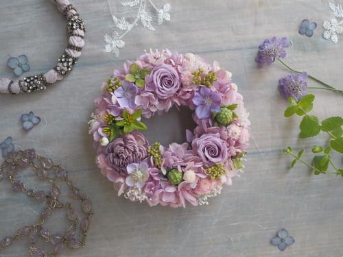 Petite Couronne< Lime purple>*幸せ舞い込むミニリース *プリザーブドフラワー*花*ギフト*記念日*結婚祝い*新築祝い