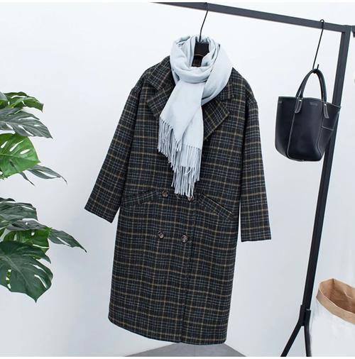 【注文商品】【アパレル】Check Velvet Vintage Fleece Long Over Coat【Green】