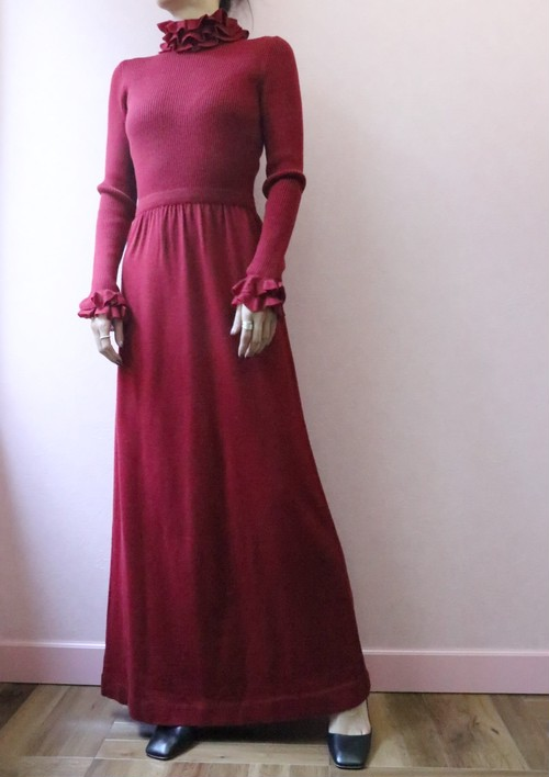 70's red knit long dress