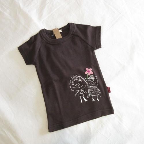 送料込み!☆韓国子供服☆80~140㎝ 手書き風ブタちゃんとお花の半袖Tシャツ