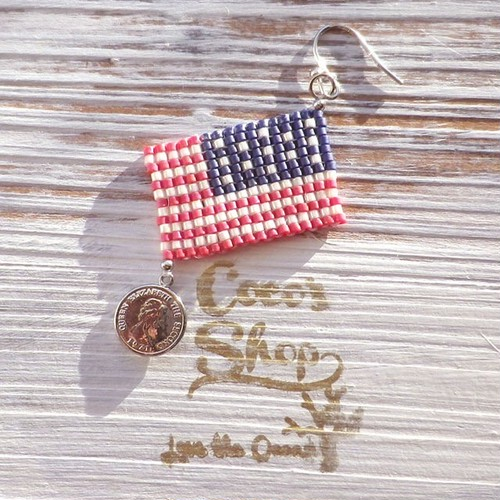 ◆SALE ¥300 OFF◆ Flag One Yar  Pierce ~Aamericanflag&Coin~