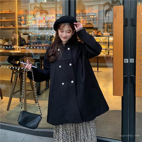 【アウター】ファッションレトロランタンスリーブスタンドネックダブルブレストアウター