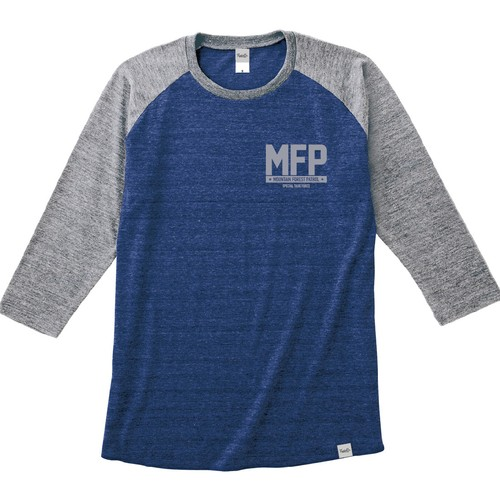 Tri Brend Raglan 3/4 Sleeve T-Shirt / MFP / Heather Navy×Heather Gray