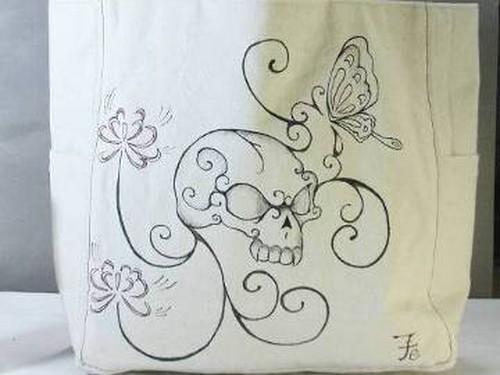 [和柄の手描き]トートバック・髑髏と彼岸花
