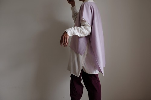 2way プルオーバー / ワイドスクエアー ハーフスリーブ/ウール【 ラベンダー 】ボートネック サイドスリット  / wide square half sleeve pullover / wool【 lavender 】boat neck side slit