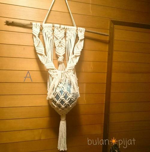 マクラメ編みタペストリー ボール入れ 植木鉢 小物入れ 壁掛け天然淡水 良質枝流木
