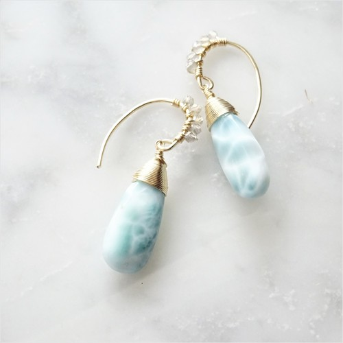 ▸LIMITED◂14kgf* Larimar + Labradorite drop pierced earring