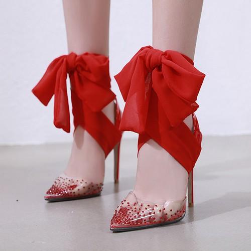 スケルトン クリア サンダル 3色 22.5〜25.0cm 靴 シューズ アンクルリボン ハイヒール おしゃれ 華やか 春新作