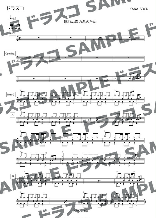 眠れぬ森の君のため/KANA-BOON(カナブーン)ドラム譜