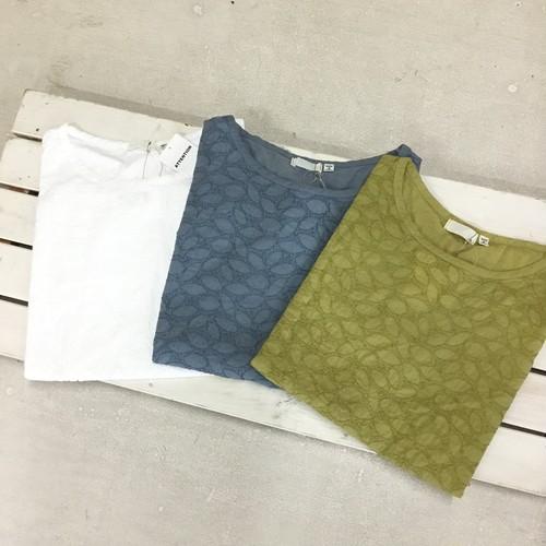 7分袖刺繍プルオーバー(リーフドット柄)