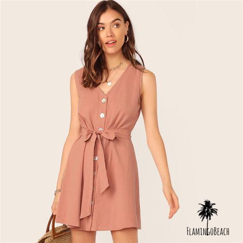 【FlamingoBeach】simple ribbon onepice ワンピース 67128