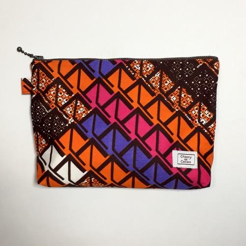 ポーチ アフリカンテキスタイル(日本縫製) 「ウェーヴ2」オレンジ ピンク パープル ブラウン アフリカ エスニック ガーナ布