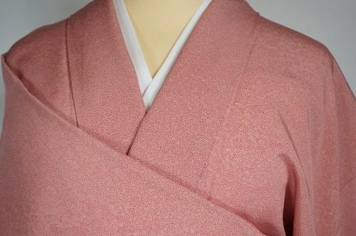 美品 江戸小紋 色無地 ちりめん 正絹 一つ紋 ピンク 桃花色 187