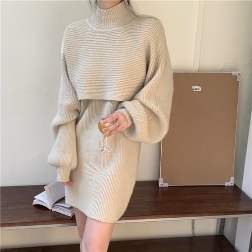 2色 セットアップ ラテカラー ニット ワンピース ミニ丈 秋 冬 デート レディース ファッション 韓国 オルチャン