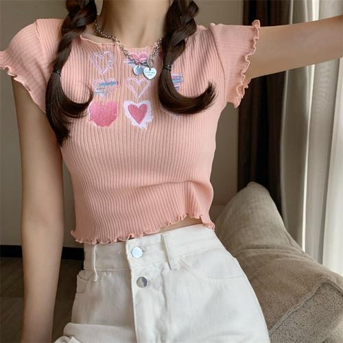 4色/ハート刺繍メロートップス ・16463