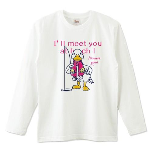 キャラT76 あひるのおひるさんのサカナ釣り*A *ナチュラル*長袖Tシャツ