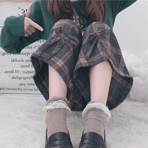 【送料無料】裾のリボンが可愛い ♡ チェック柄 カジュアル ガーリー ワイドパンツ ボトム