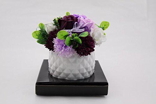 【送料無料】107 花のhiro's japan フレグランスシャボンフラワー アレンジメント 陶器POT仕様 パープル 107