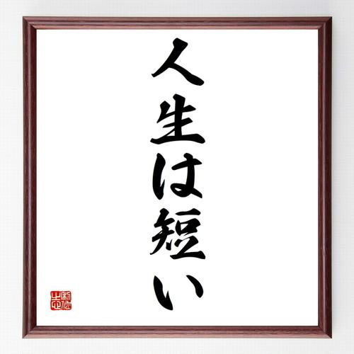 名言書道色紙『人生は短い』額付き/受注後直筆(千言堂)Z3411