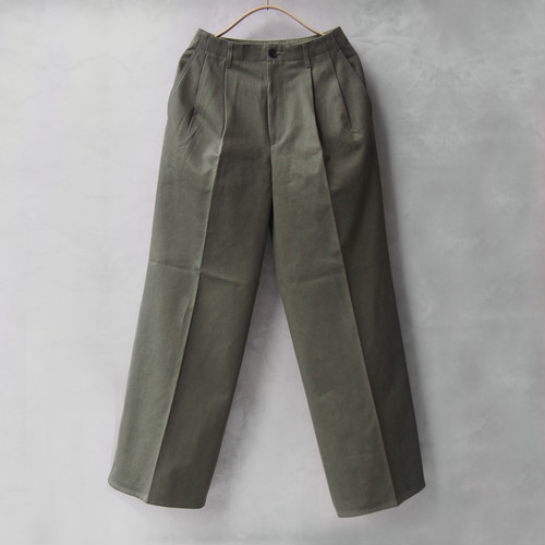 AURALEE WASHED FINX CHINO WIDE TUCK PANTS OLIVE