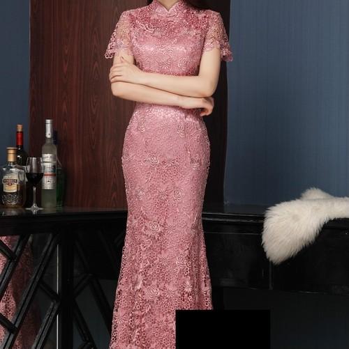 チャイナ風ドレス ロング レース セクシー タイト 結婚式 二次会 パーティー お呼ばれ wb065