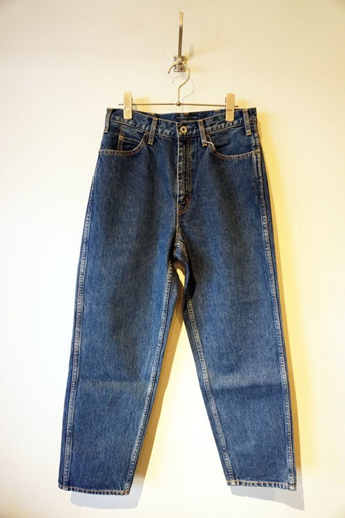 5POCKET WIDE DENIM PANTS BIO WASH [ BLUE ]