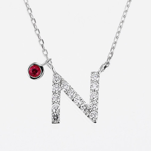 Initial K18WG Diamond【N】Pendant Necklace with Charm (ダイヤモンド イニシャル【N】ペンダントネックレス チャーム付き)