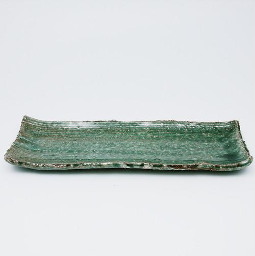 緑粉引櫛長方皿