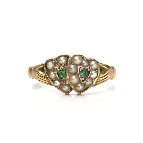 Victorian Pearl Double Heart Ring