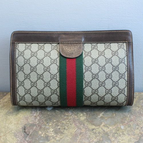 .OLD GUCCI SHERRY LINE GG PATTERNED CLUTCH BAG MADE IN ITALY/オールドグッチシェリーラインGG柄クラッチバッグ 2000000034119